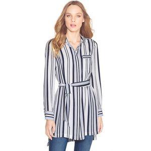 WHBM | Blue White Hi-Lo Long Stipe Shirt Button Up